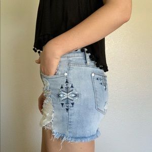Pants - Embroidered Distressed Denim Shorts